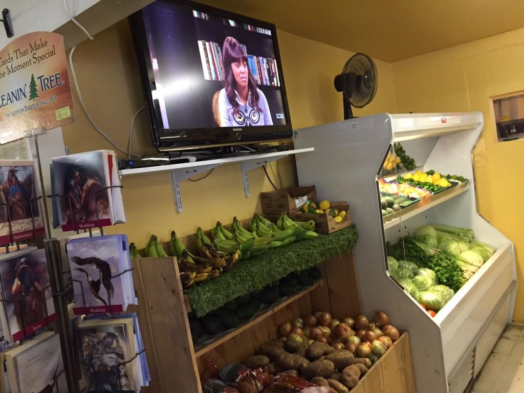 Pala Store produce and HDTV aisle.