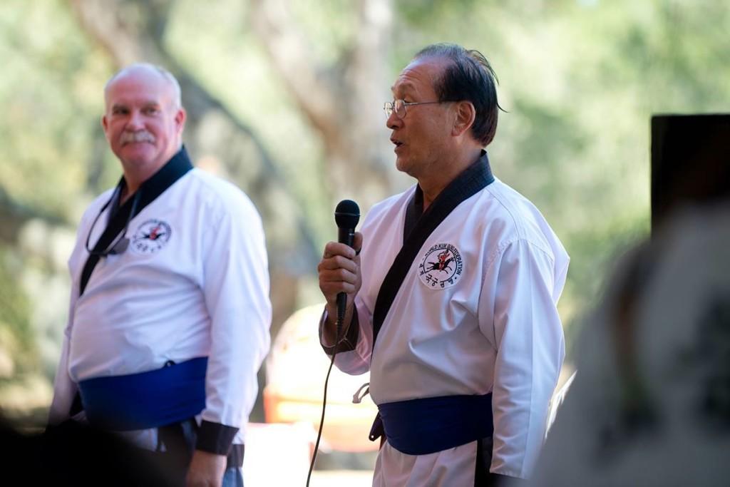 Traditional Korean Archery Master Heon K. Kim speaks at the festival.