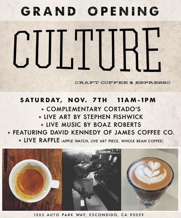 Culture hosts free opening celebration Saturday, Nov. 7