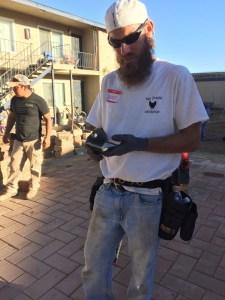 John Muray, an Orlando contractor, spent $1,200 to come to Escondido to help.