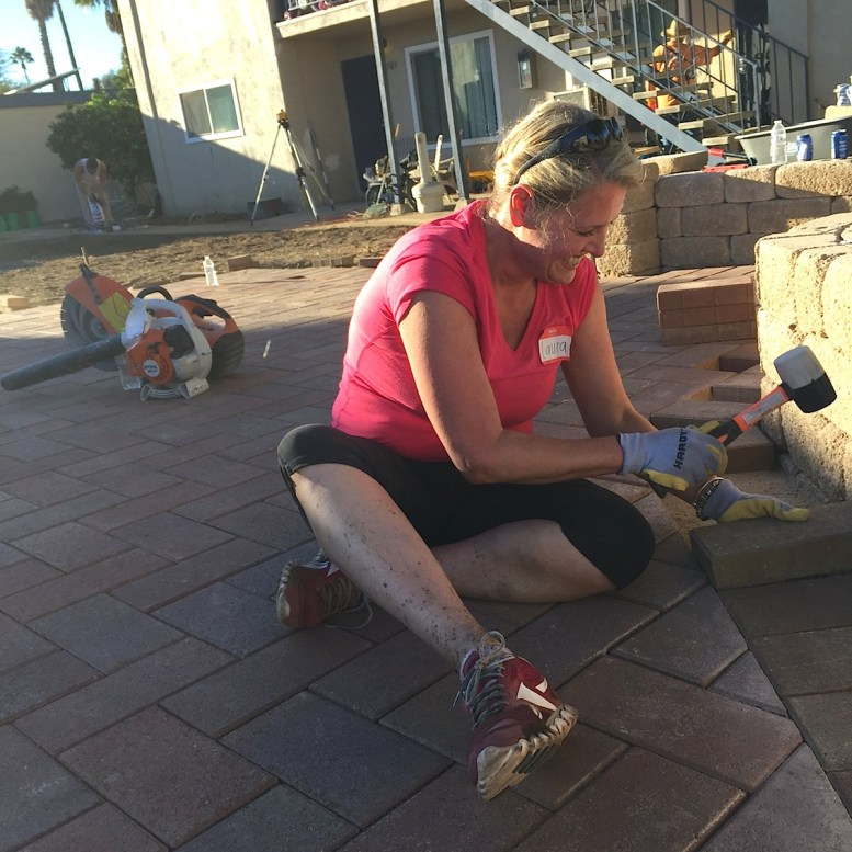 A sSouthwest Airlines stewardess from Houston flew in to help with the hardscaping.