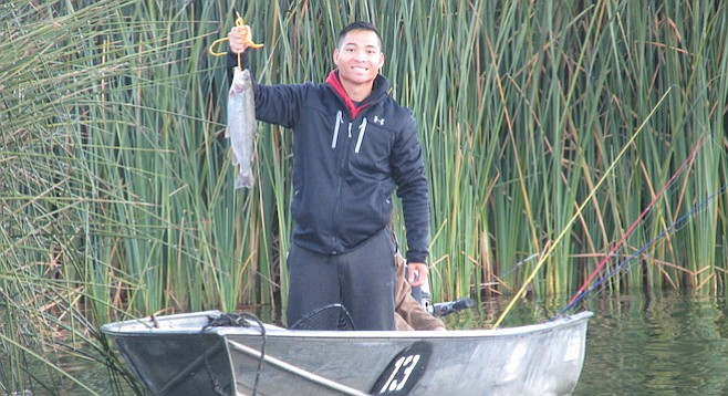 Thai Dinh hooked the first fish of the season at Lake Wohlford.
