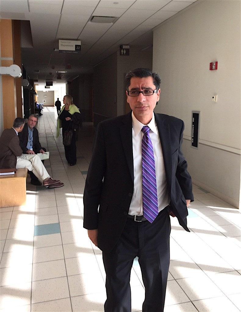 EUSD Superintendent Luis Rankons-Ibarra at the Vista courthouse last week during a break in his testimony against Jose Fragozo.