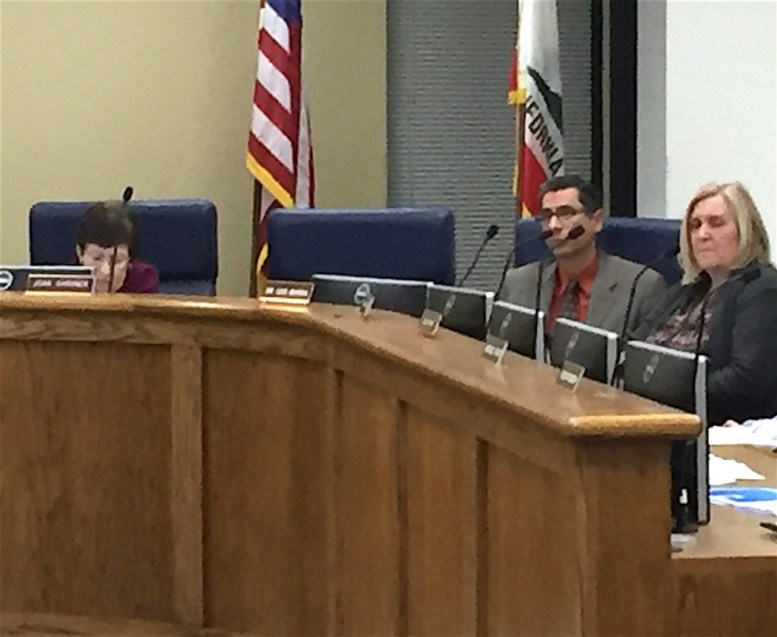 (L-to-R) EUSD Board president Joan Gardner, Jose Fragozoo's empty chair, EUSD Superintendent Luis Rankins-Ibarra, Board member Zesty Harper.