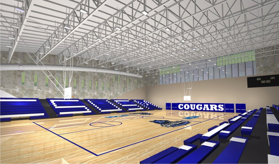 An architectural rendering shows how the completed interior of Cal State San Marcos' Sports Center will likely look. (Courtesy photo)