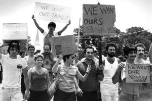 Cuban-American protesters at Fort Chaffee, Ark., in June 1980,