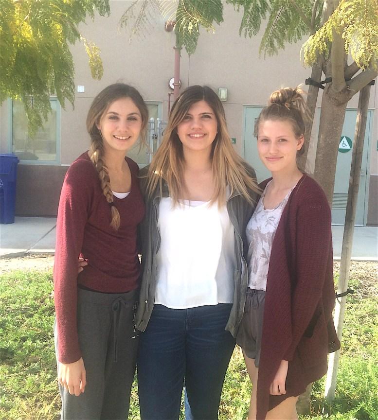 (Mission Vista High School Debate Team (l-to-r):: Katherine McGraw, Megan McDonald, and Raquel Pariz)