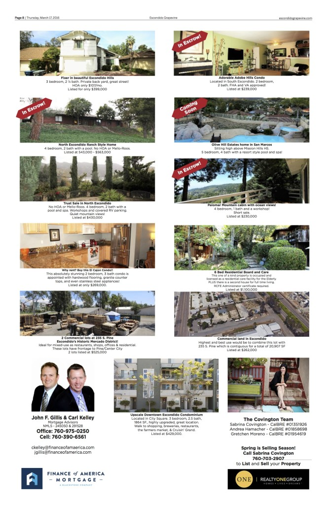 Page 8. Call Shera Sandwell for more info on advertising at (760) 877-1055.