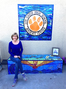 Martha Rafter was looking a bit bluish at her Los Gatos High School memorial bench installation for a 17-year-old Cancer patient who succumbed to the disease.
