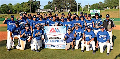 The Cal State San Marcos team that captured its third Association of Independent Institutions (A.I.I.) Conference baseball crown in five years in 2015 before joining the NCAA Division II this year.