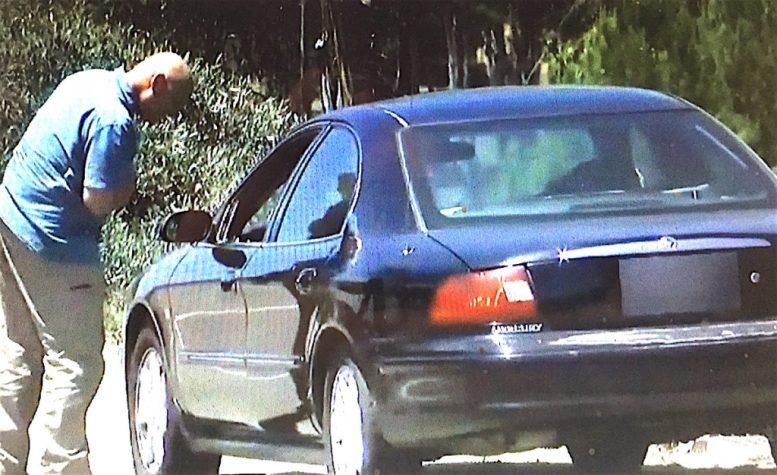 Investigators examine the dead woman's car.