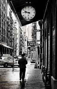 Strolling down 42nd Street.
