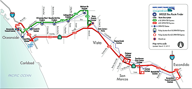 NCTD bus and train routes.