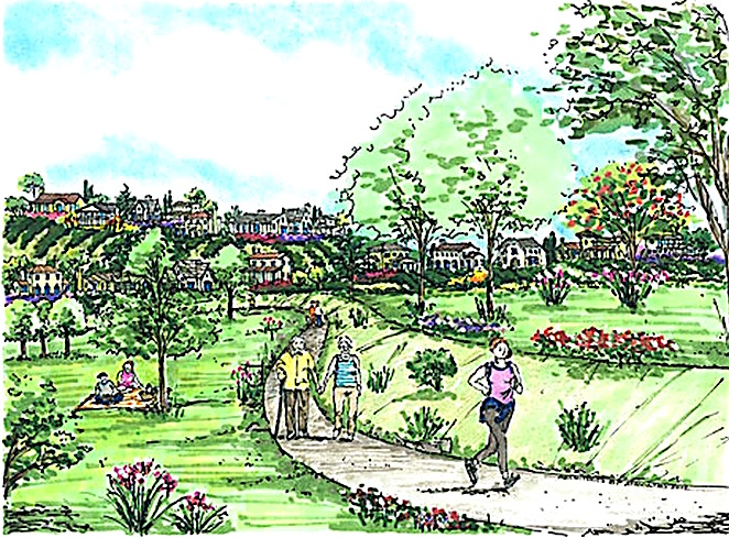 Accretive artist conception of the suburban beauty of proposed Lilac Hills Ranch.