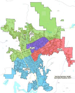 Escondido Council Districts: District 3 in red, District 4 in blue.