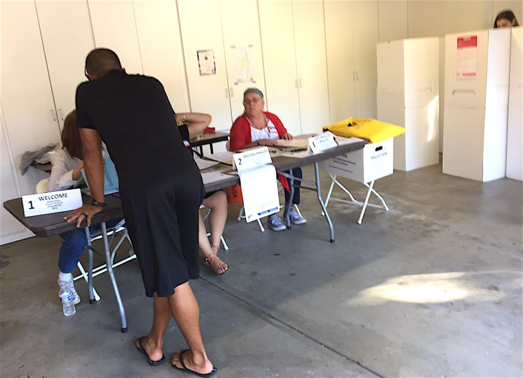 Scene inside Granger's garage turned polling station.