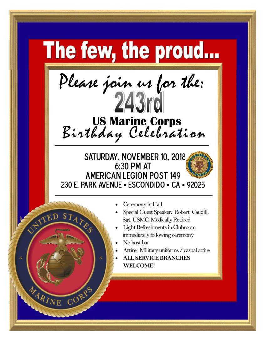 Marine Corps Birthday Invite