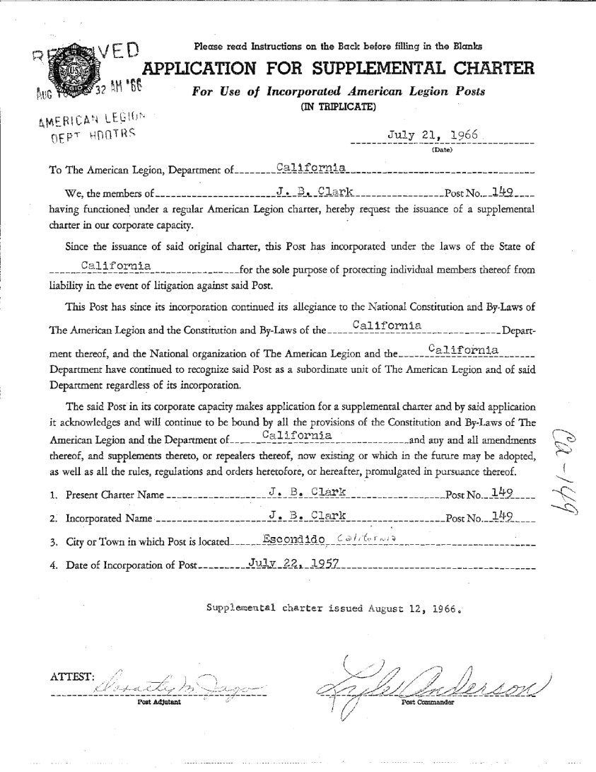 Post 149: Application for Supplemental Charter - July 21, 1966