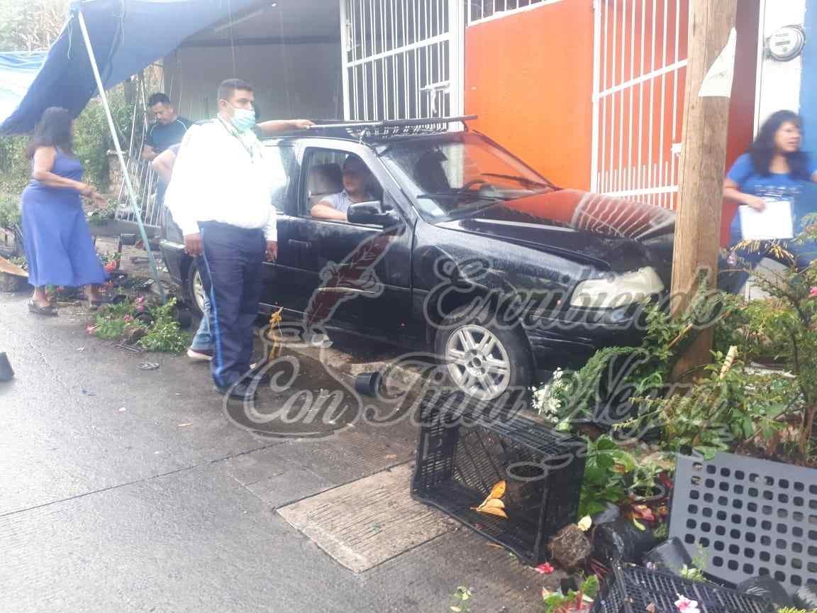 SE ESTRELLA AUTO CONTRA PUESTO DE PLANTAS