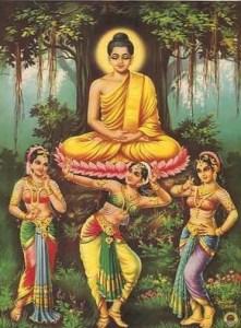 Las tres hijas de Mara: Tanha (ansias), Arati (aburrimiento) y Raga (pasión), tratando de tentar al Buda y obstaculizar su práctica hacia la iluminación.
