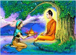 Sujata le brinda al Buda comida, la ultima que come antes de alcanzar la iluminación.