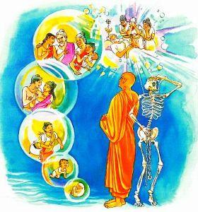 Renacimiento Budista - Imagen proveniente de la versión ilustrada del Dhammapada, verso 170, sobre el fín del ciclo del samsara