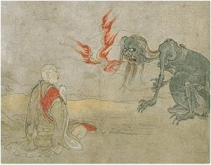 Tesoro nacional de Japón, Gaki Zoshi, representa los fantasmas hambrientos (Petas), pintura del siglo 12