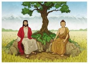 Budistas creen en Dios ?-Simpatica representación de Jesus y Buda por Xilrion