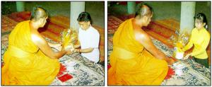 Diferencia en la etiqueta formal para el ofrecimieto a los monjes. Imagen por Changpuak