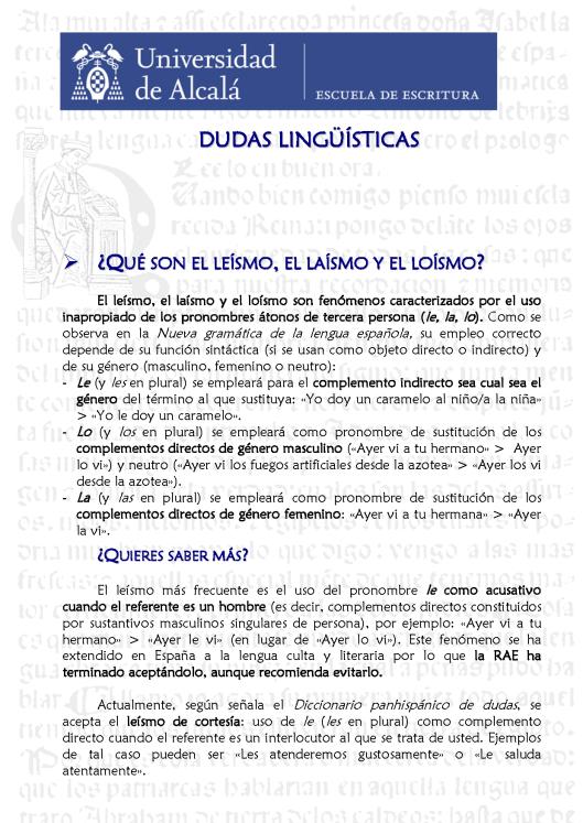 9. Laísmo, leísmo, loísmo. Blog