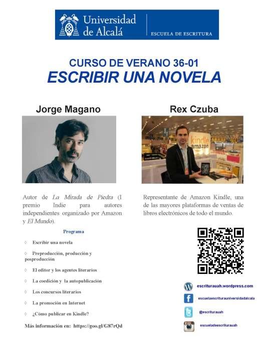 cartel Escribir una novela curso de verano 2016