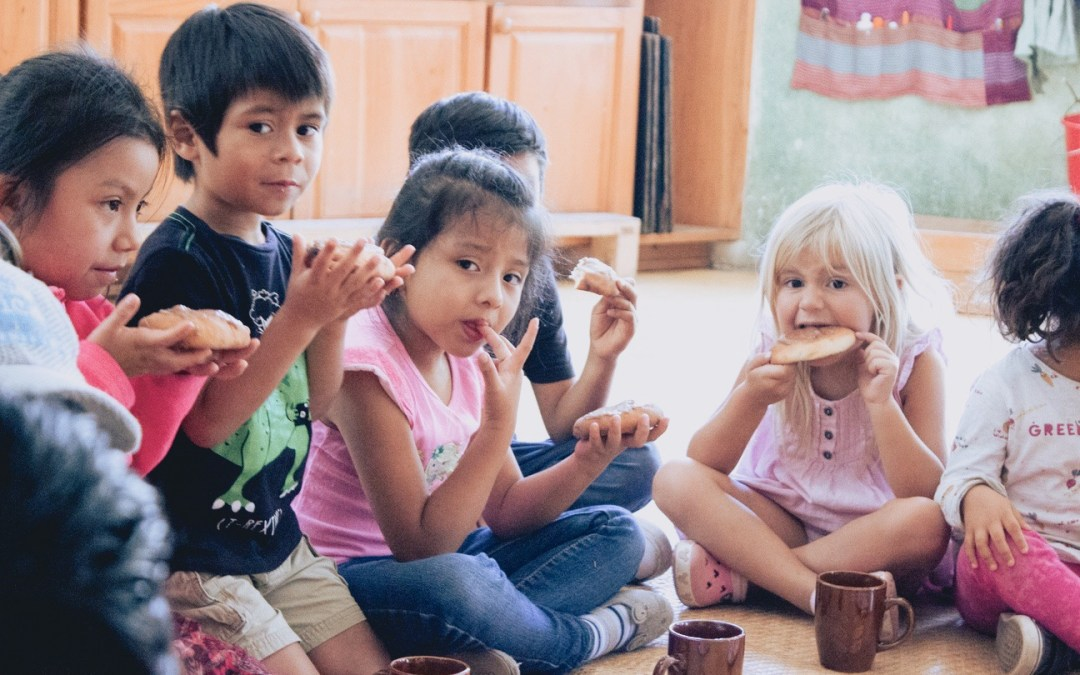 Sharing chocolate and bread as a great family.