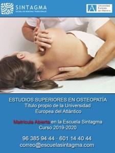 Matrícula abierta en Escuela Sintagma del curso universitario de osteopatía