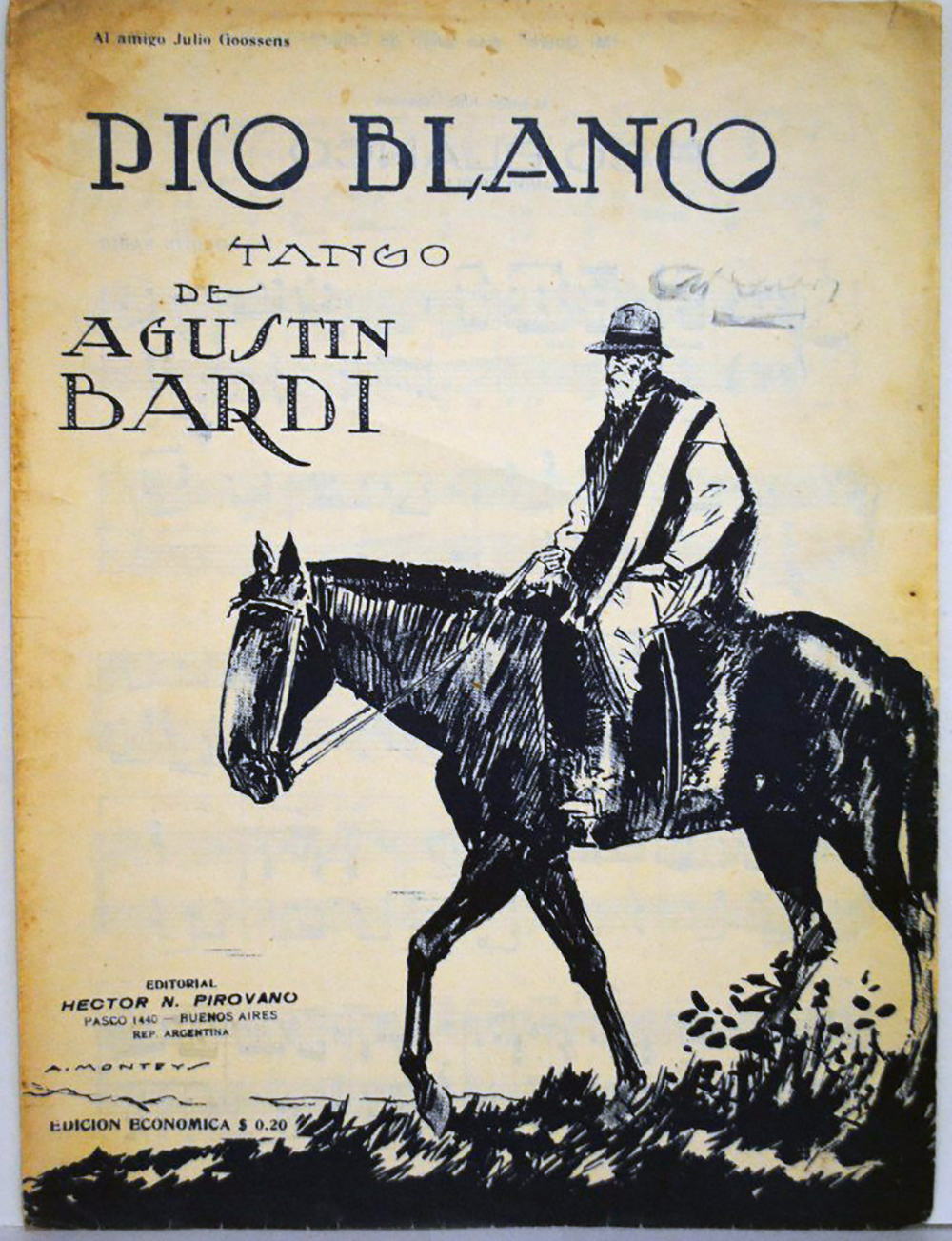 Pico blanco, Argentine Tango composed by Agustín Bardi. Music sheet cover