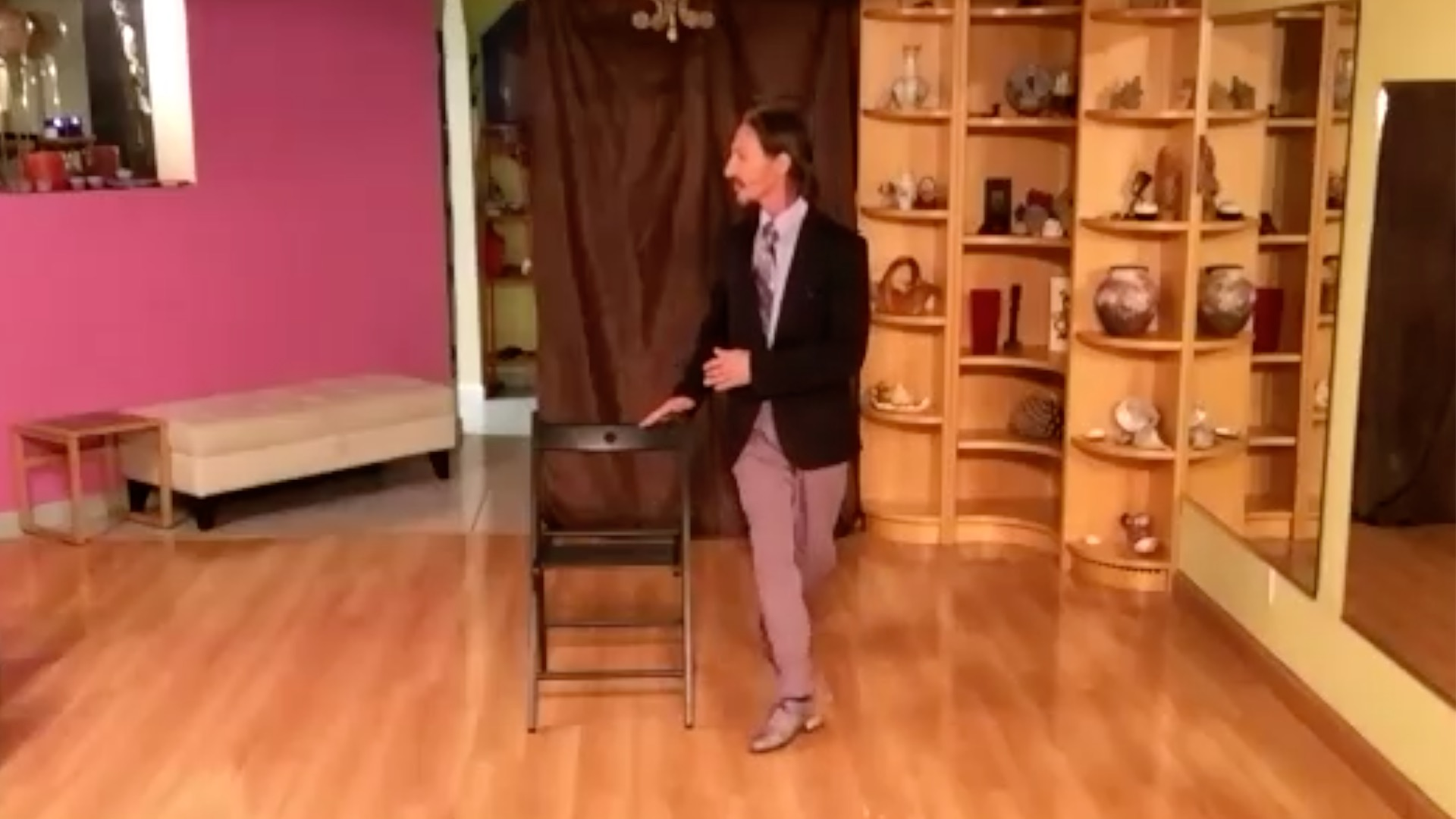 Argentine Tango class: chair exercise with forward ochos