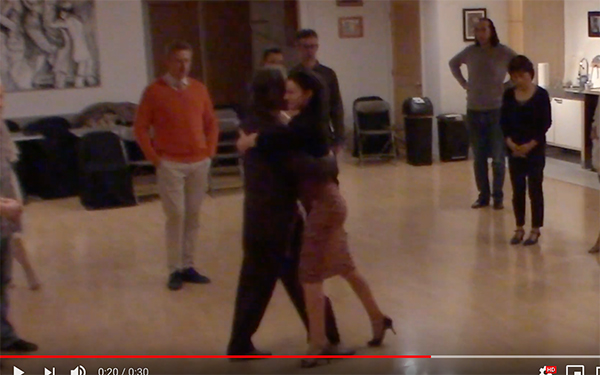 Argentine Tango intermediate class with Miranda_ Crossed system walk with partner' space invasion
