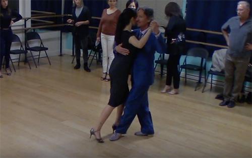Argentine Tango intermediate class with Miranda_ walking backwards