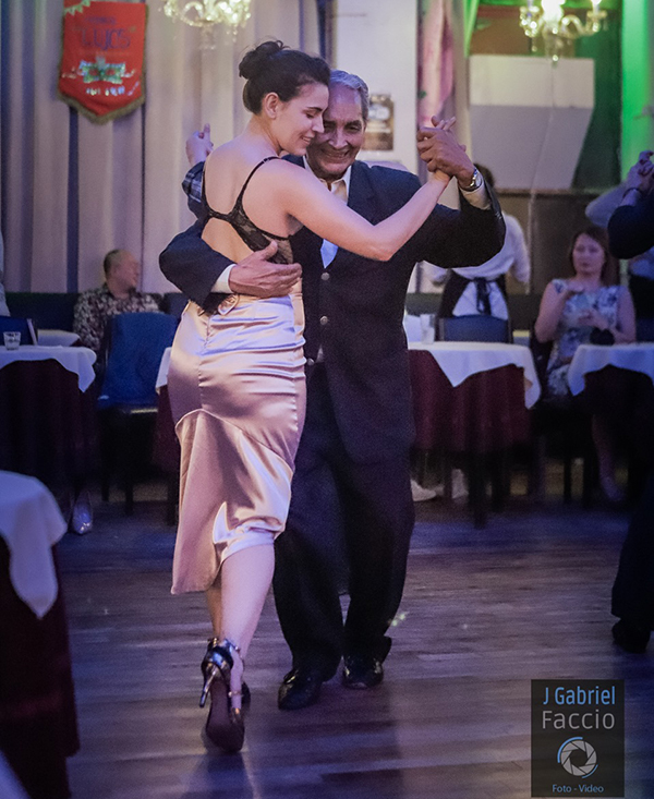 Blas Clemente Catrenau at the milonga, showing of his great style of Argentine Tango dancing.
