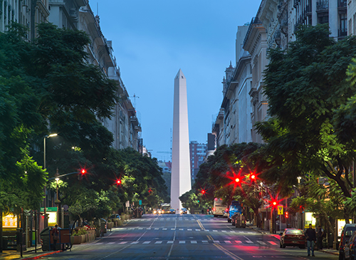 Night view of the center of Buenos Aires, Argentina. Tango trip with Marcelo Solis.