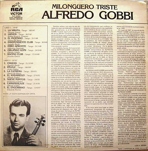 """Chuzas"" by Alfredo Gobbi y su Orquesta Típica, 1949. Music: Agustín Bardi."