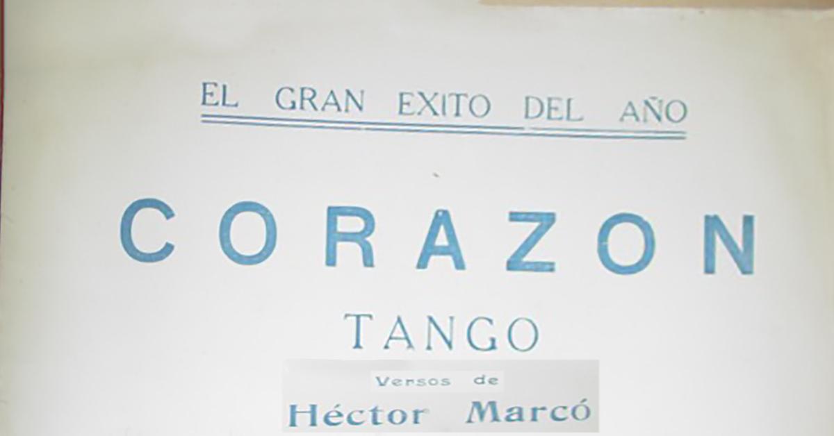 """Corazón"", Argentine Tango music sheet cover."