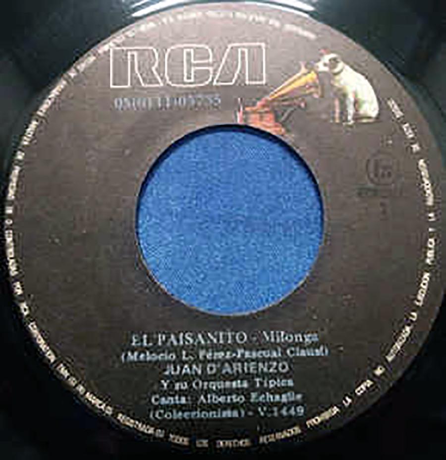 """""""El paisanito"""", milonga by Music: Pascual Clausi. Lyrics: Melecio Pérez. Disc."""
