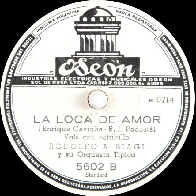 """""""Loca de amor"""", Argentine Tango music vinyl disc."""