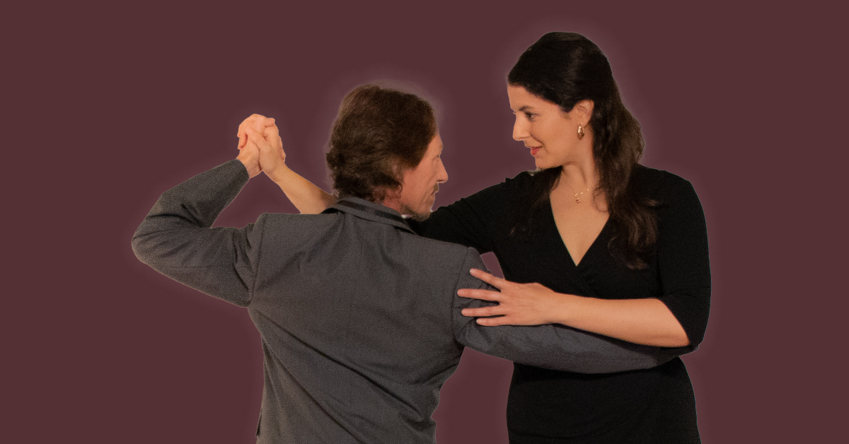 Marcelo Solis dancing Argentine Tango with Mimi at our beginner virtual class.