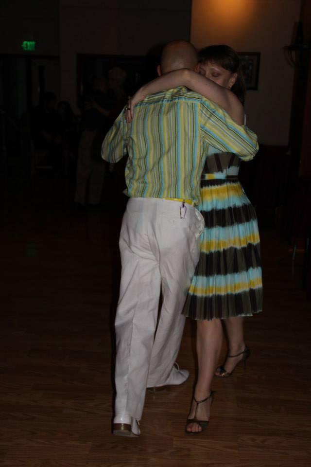 Dancing at milongas.