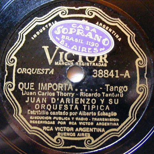 """""""Qué importa"""", Argentine Tango music. Vinyl disk."""