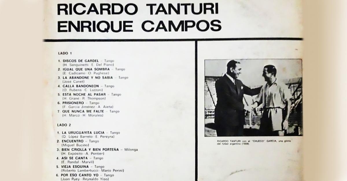 Tanturi-Campos Argentine Tango vinyl disc cover.