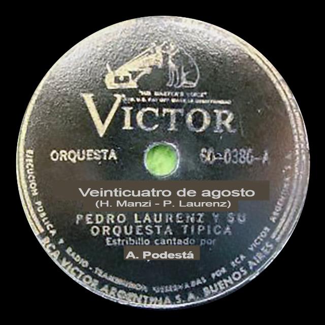 Venticuatro de agosto, Argentine Tango music vinyl disc.