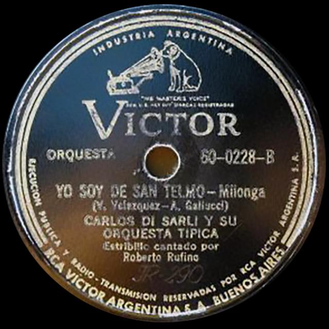 """""""Yo soy de San Telmo"""", Argentine Tango music vinyl disc."""
