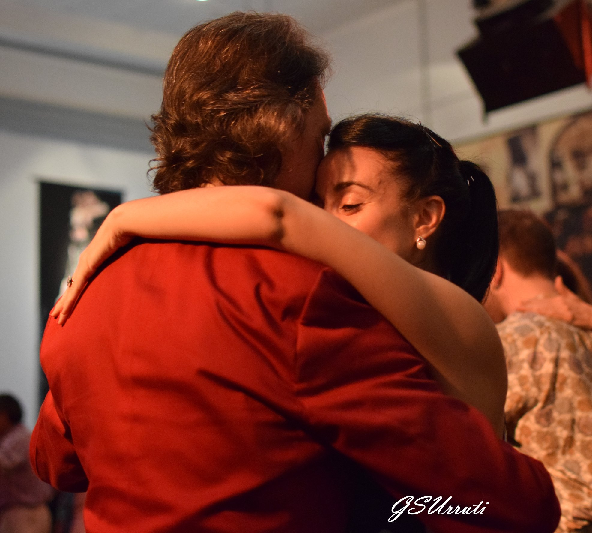 Dancing with Lola at milonga Parakultural, Salon Canning, Buenos Aires.